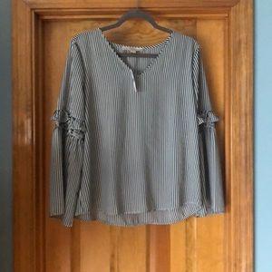 Loft black pinstripe shirt with balloon sleeve —